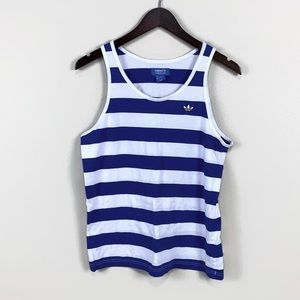 Adidas Trefoil Blue and White Striped Tank   S